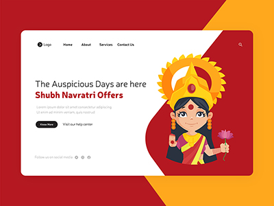 Shubh Navratri the auspicious days are here on landing page design