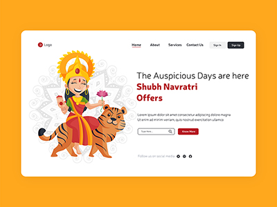 Shubh Navratri wishes festival offers with landing page design