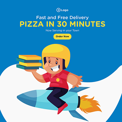 Social media banner design of fast and free pizza delivery service