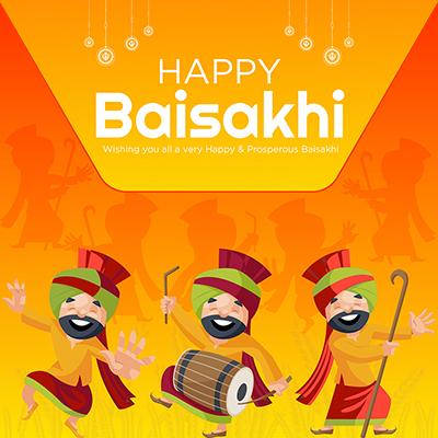 Social media banner design of happy Baisakhi celebrations