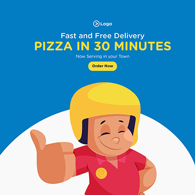Social media banner of fast and free pizza delivery service