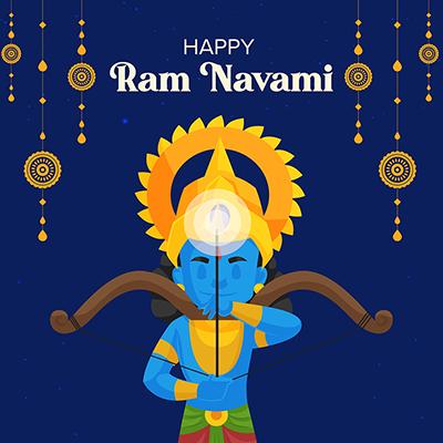 Social media banner of happy Ram Navami Hindu traditional festival