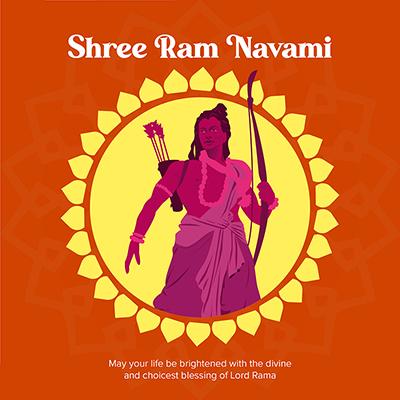 Social media banner of shree Ram Navami Hindu traditional festival