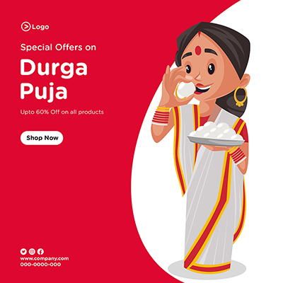 Social media banner template of special sale on Durga puja