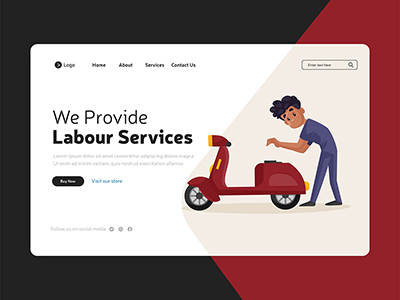 We provide labour services illustration with landing page design