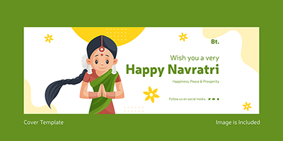 Wish you a very happy Navratri on facebook cover template