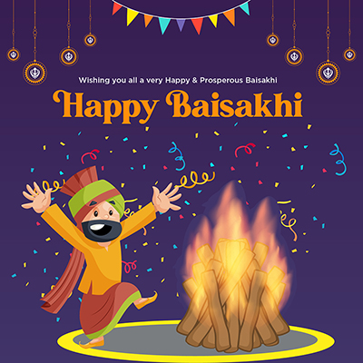 Wish you all very happy and prosperous Baisakhi festival banner