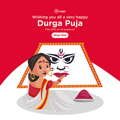 Wishes of Durga puja banner template with big discounts on all products