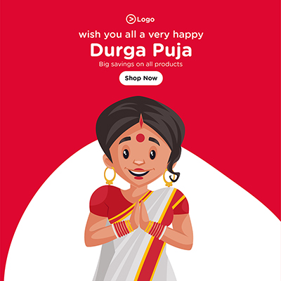 Wishes of Durga puja social media banner with big savings on all products