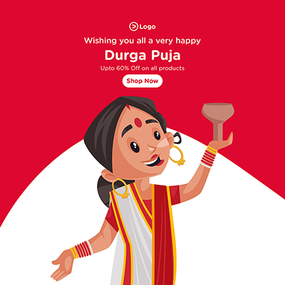 Wishing you all a very happy Durga puja with social media banner