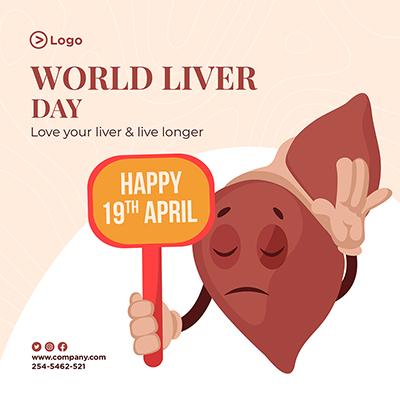 World liver day for happy liver social media banner template