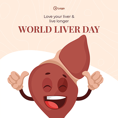 World liver day with happy heart on banner design template