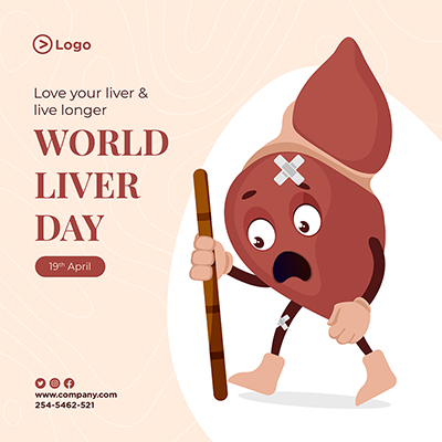 World liver day illustration on banner template design