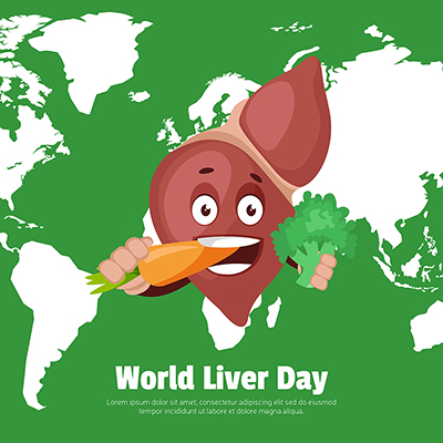 World liver day with happy and healthy liver banner design