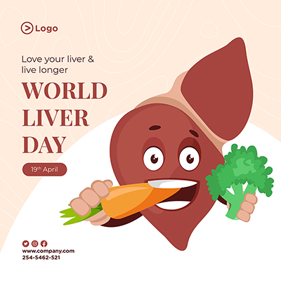 World liver day with healthy food concept banner design