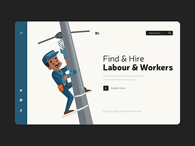 Illustration of happy labor day landing page design template