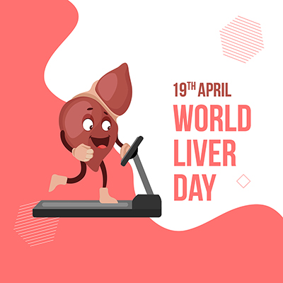 World liver day  the concept of exercise with social media banner