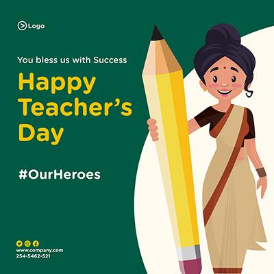 Banner design for happy teacher's day