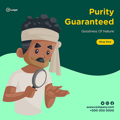 Banner design for purity guaranteed with goodness of nature
