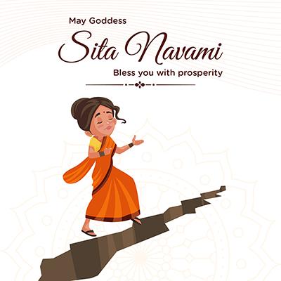 Banner design of religious festival goddess Sita Navami