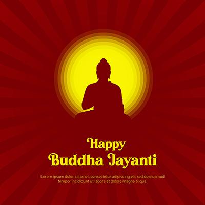 Banner design of happy buddha jayanti illustration