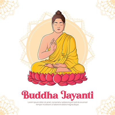 Banner design of happy buddha jayanti illustration template