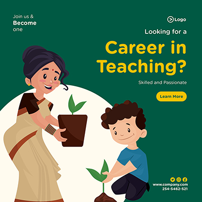 Banner design of looking for a career in teaching