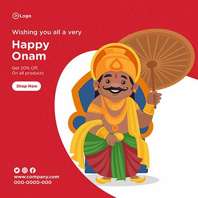 Banner design template happy Onam festival wishes