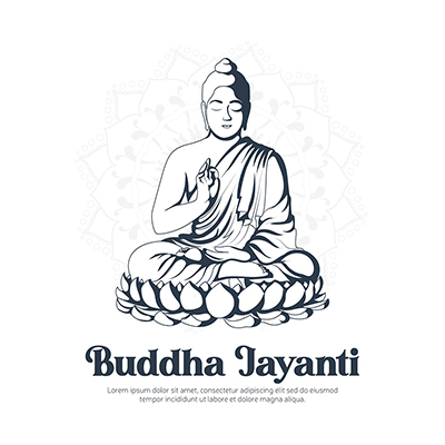 Banner design template of buddha jayanti illustration