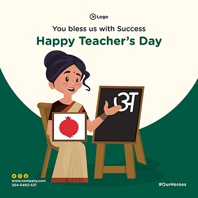 Banner for happy teacher's day template