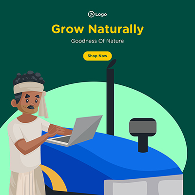 Banner of grow naturally with goodness of nature