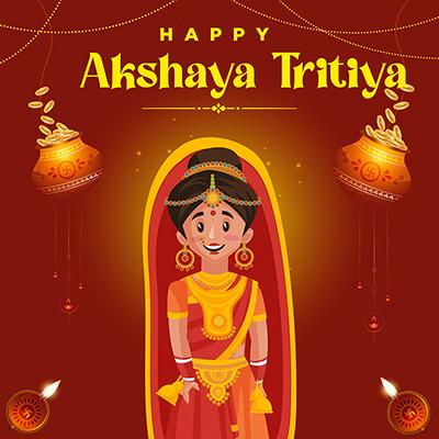 Banner of happy akshaya tritiya Indian festival celebrations