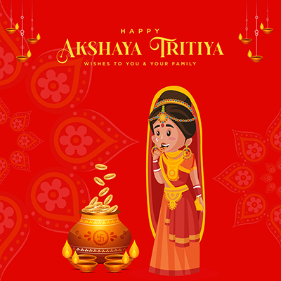 Banner template design for happy akshaya tritiya wishes to you and your family