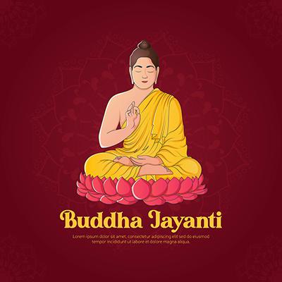 Buddha jayanti illustration social media banner design