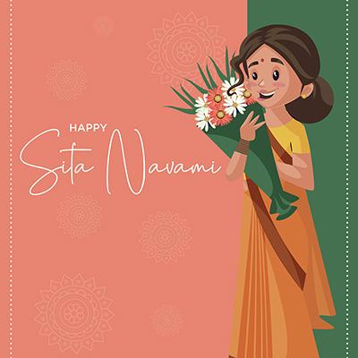Happy Sita navami on a banner design