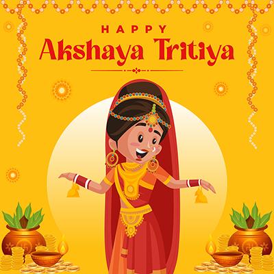 Happy akshaya tritiya Hindu traditional festival wishes banner