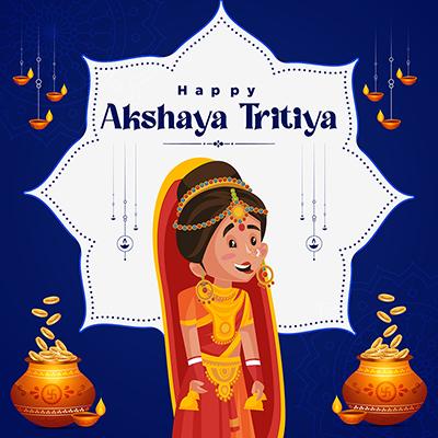 Happy akshaya tritiya Indian traditional festival banner design template