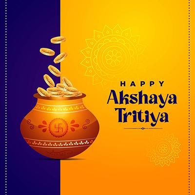 Happy akshaya tritiya religious worship day banner design template