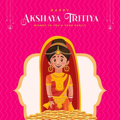 Happy akshaya tritiya wishes to you and your family illustration banner