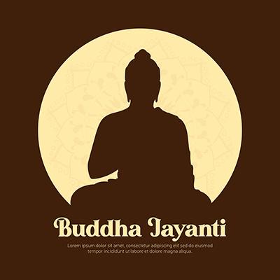 Happy buddha jayanti illustration banner design template
