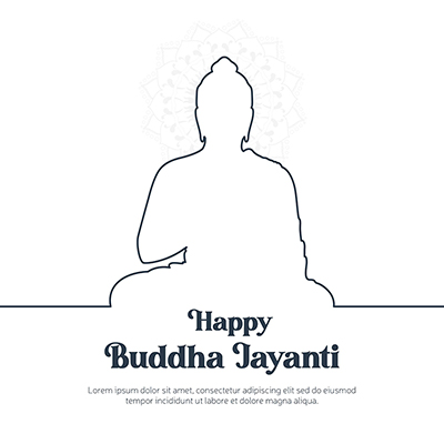 Happy buddha jayanti illustration banner template design