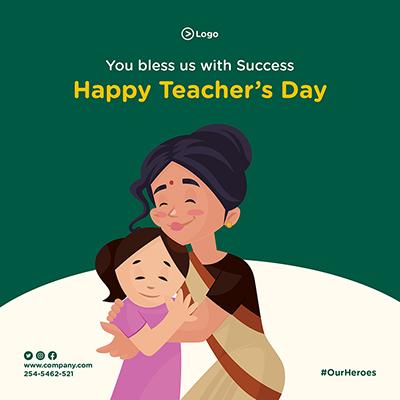 Happy teacher's day social media banner design