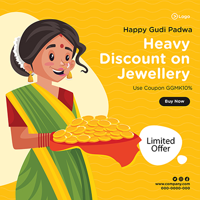 Heavy discount on jewellery banner design