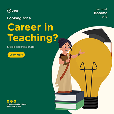 Looking for a career in teaching banner design template