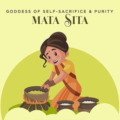 Mata Sita goddess of self-sacrifice and purity with banner