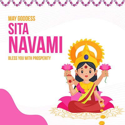 Banner design Sita navami may goddess bless you with prosperity