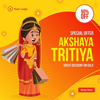 Special discount on gold akshaya tritiya festival banner design