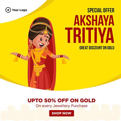 Special offer on akshaya tritiya festival on a banner design