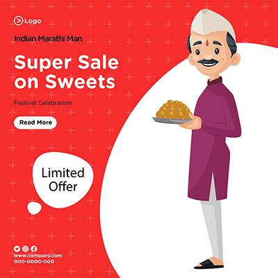 Banner design for super sale on sweets