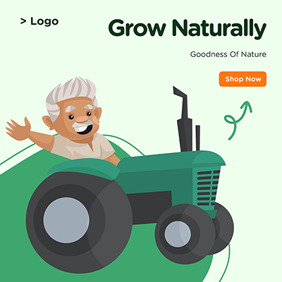 Banner design of grow naturally goodness of nature